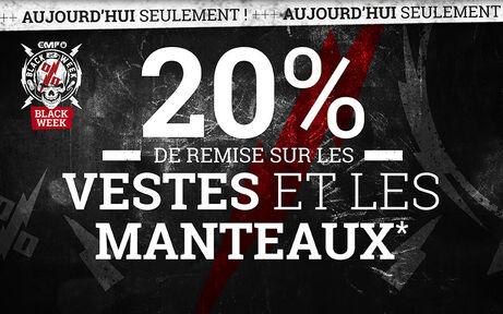 20 % DE REMISE SUR LES VESTES ET LES MANTEAUX