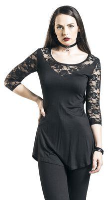 schwarzes Langarmshirt mit Spitzenärmeln und Ausschnitt