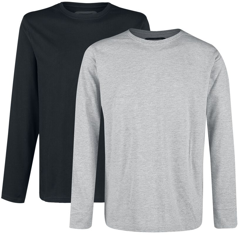 Double Pack Long-Sleeve Tops Grey and Black with Crew Neck
