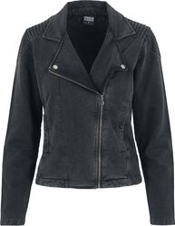 Veste De Biker Acid Wash Terry