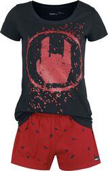 Pyjama Noir/Rouge Imprimé Rockhand