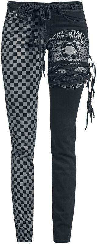 Skarlett - schwarz/graue Jeans mit Print und Schnürung