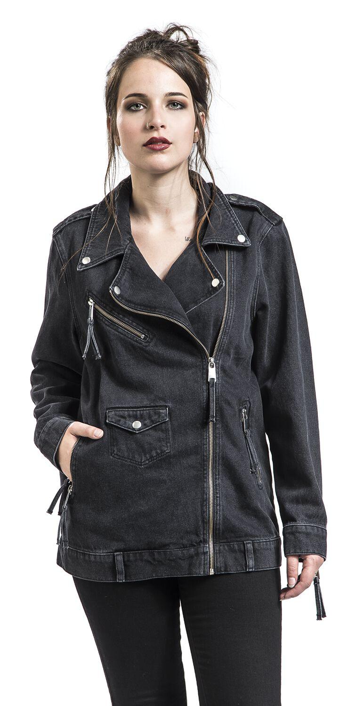 rebel denim biker jacket disturbia veste en jean large. Black Bedroom Furniture Sets. Home Design Ideas