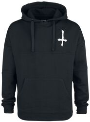 Black hoodie with print on chest and back
