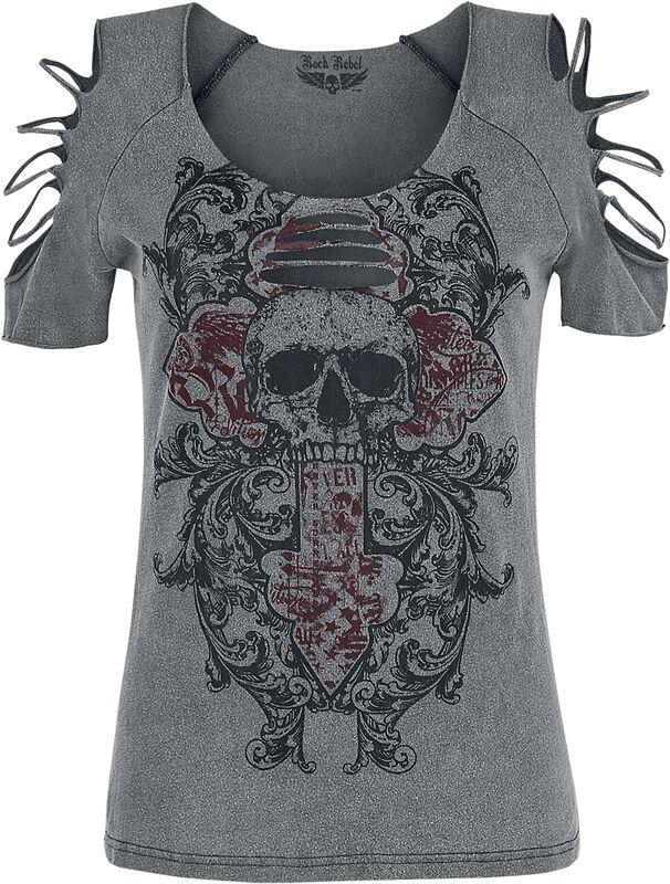 T-Shirt Gris Délavé Et Découpé
