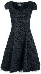 Arianna Black Leopard Flocked Day Dress