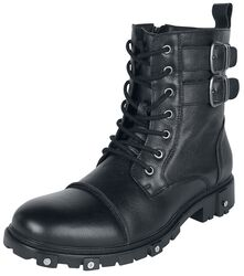 Black Boots with Lacing and Buckles
