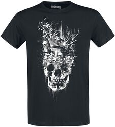 Black T-shirt with Crew Neckline and Print
