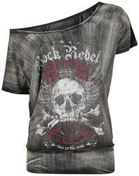 Dunkelgraues T-Shirt mit weitem Ausschnitt und Print