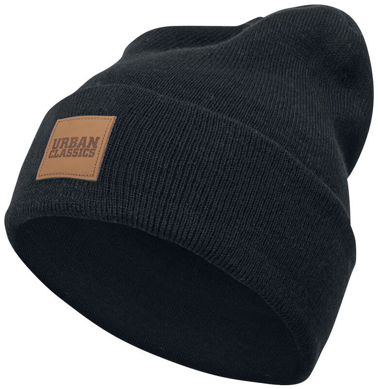 Leather Patch Long Beanie