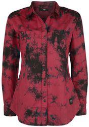 Red Long-Sleeve Shirt with Batik Pattern