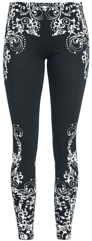 Black leggings with detailed print