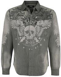 Grey Denim Jacket with Print and Wash