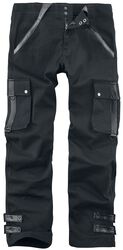 Pete - Black Trousers with Faux Leather Details