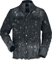 Black denim jacket with wash and open seams