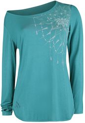 Sport and Yoga - Turquoise Long-Sleeve Top with Detailed Print