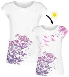 White T-shirt with Crew Neck and UV-Print