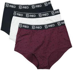 Black/Grey/Red Panty Set