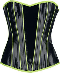 Black Lacquer-Look Corset with Neon-Coloured Details