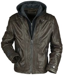 Brown Leather Jacket with Hood and Biker Stitching