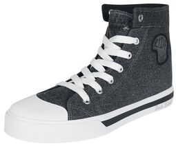 Dark Grey Sneakers in Jeans Look with Side Patch