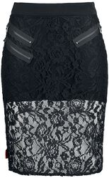 Knee-length lace skirt with zippers