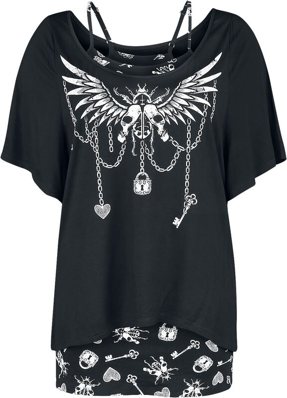 Two-Layered Top with Gothic Print and Boat Neckline