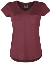 T-shirt with front pocket and V-neck