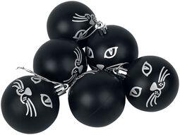 Cat Set van 6 kerstballen