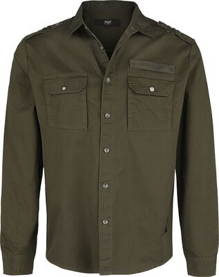 Chemise Olive Avec Poche Poitrine Style Militaire