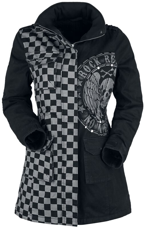 Black/Grey Jacket with Studs and Print