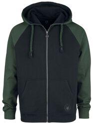 Black/Green Hoodie with Raglan Sleeves