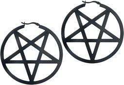 Boucles d'Oreilles Créoles Pentagramme Noir