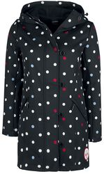 Manteau Noir pour Femme Softshell avec Pois Blancs