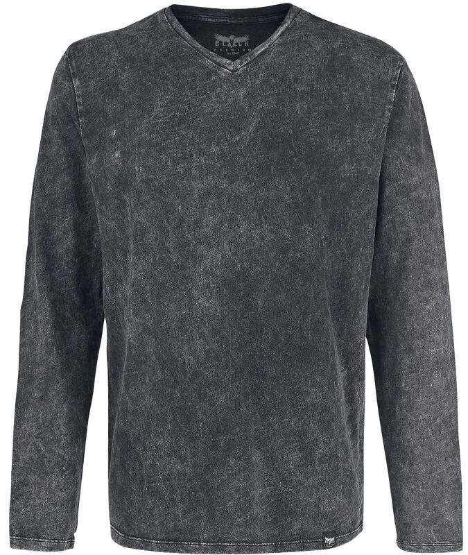 Long-Sleeve Shirt with V-Neckline and Wash