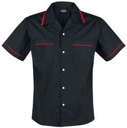 Schwarzes Bowlinghemd mit roten Details