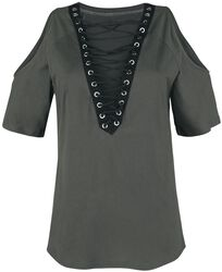 Open Shoulder Top With Lacing