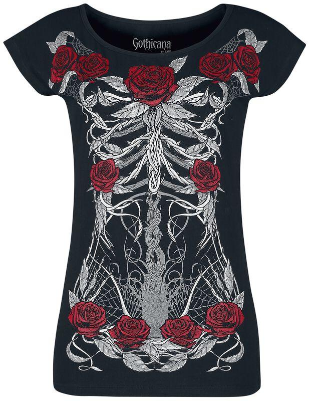 T-shirt with skeleton print
