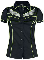 Black Short-Sleeve Shirt with Neon Details and Transparent Panels