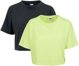 T-Shirts Crop Top Oversize Néon - Lot De 2