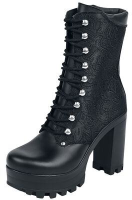 Black Grain Leather Baroque Boot