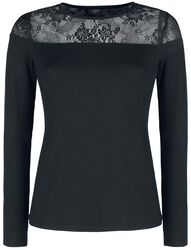 Black Long-Sleeve Shirt with Lace