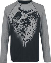 T-Shirt Raglan À Manches Longues Imprimé Tête De Mort