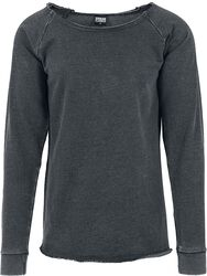 Long Burnout Open Edge Crewneck