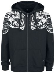 Black Hooded Jacket with Print