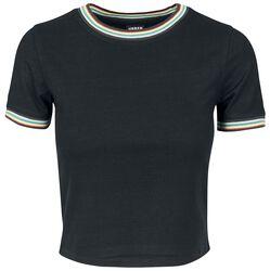 T-Shirt Court Femme À Bordure Multicolore