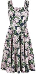 Navy Pink Peony Floral Lilac Swing Dress