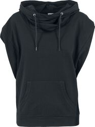 Ladies Sleeveless Terry High Collar Hoodie