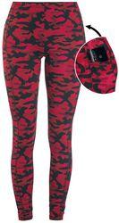 Leggings Rouge Camouflage Avec Poches Latérales