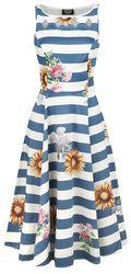 Blue Striped Skyscraper Sunflower Dress